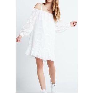 BCBG Chiffon Off-The-Shoulder Mini Dress White XS